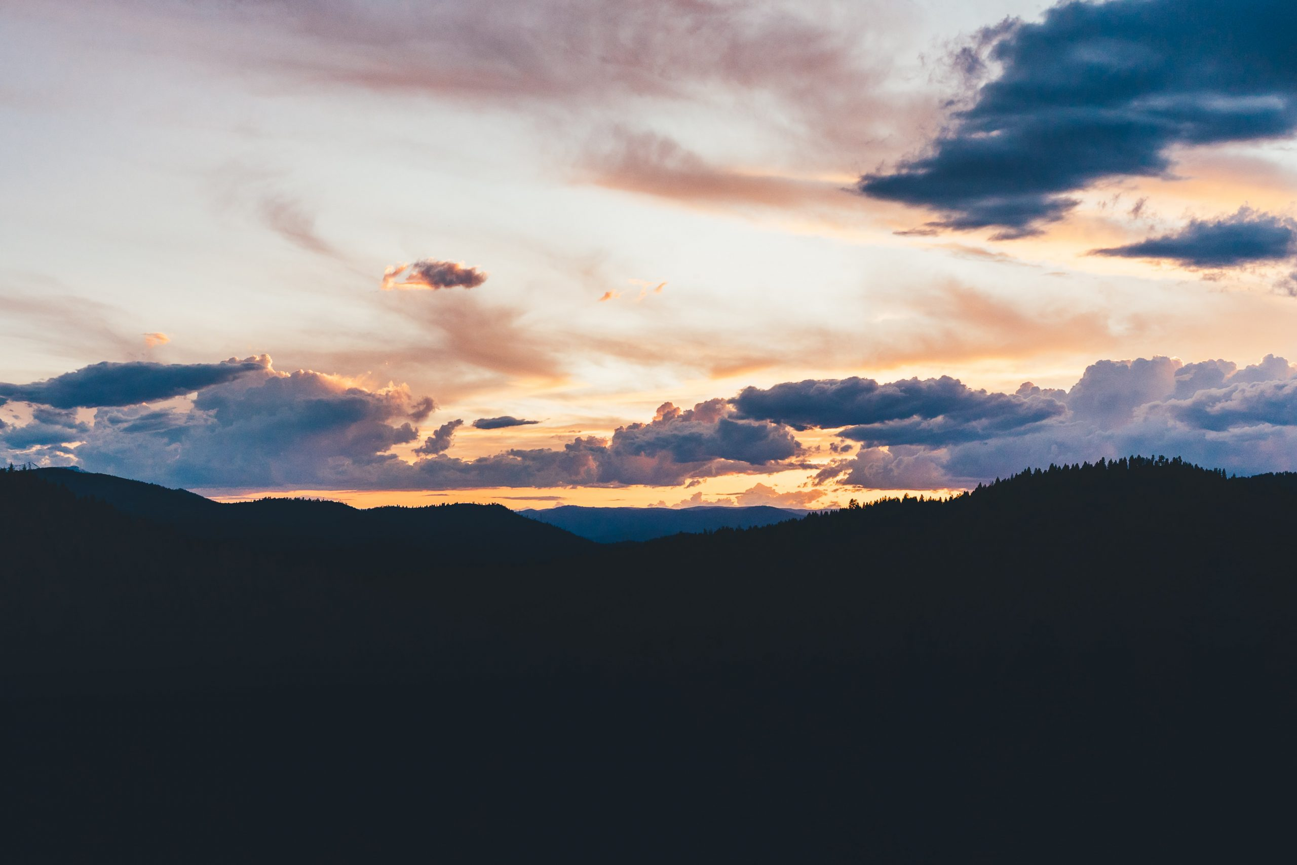 Sunset over mountains.